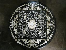42'' Black Marble Table Top Mother Of Pearl Inlaid Round Sha