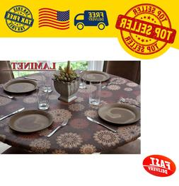 "45""-56""Dia Round Table Vinyl Tablecloth Elastic Fitted Cover"