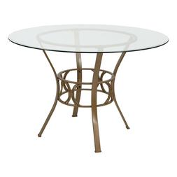 45'' Round Tempered Glass Dining Table with Gold Metal Frame