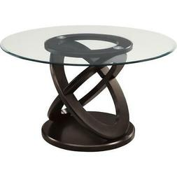 """48""""DIA / ESPRESSO WITH TEMPERED GLASS DINING TABLE"""