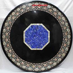 48'' Mother Of Pearl Inlaid Round Shape Floral Design Dining