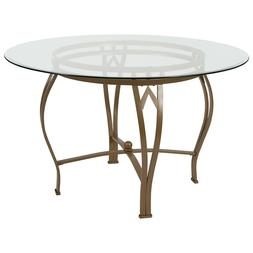 48'' Round Glass Dining Table with Matte Gold Metal Frame -