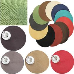 4pcs Round Jacquard Weaved Non Slip Insulation Placemats Din