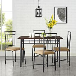 5 Five-Piece Dining Set, Brown Sturdy Steele Table with Wood
