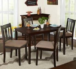 5 Pc Brown Dining Room Set Wood Kitchen Chair Table Sets Din