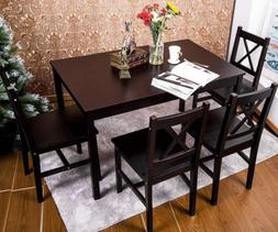 5 PC Solid Wood Dining Set 4 Person Table and Chairs  Dining