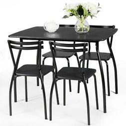 5Pcs Dining Set Table& 4 Chairs Breakfast Furniture Ideal fo