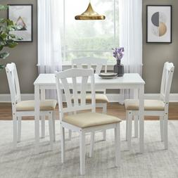 5 Pcs Dining Set Wood Breakfast Furniture 4 Chairs & Table K