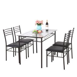 5 PCS Dining Table Glass & 4 Chairs Furniture Tempered Glass