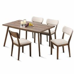 5 Pcs Dining Table Set Wooden Frame Desk & 4 Fabric Upholste
