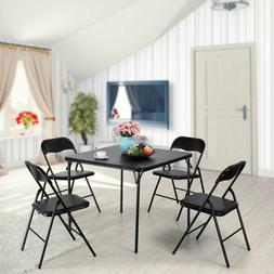 Folding Table and 4 Chairs Dining Set Room Black Commercial