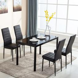 5 PCS Glass Dining Table Set with 4 Leather Chairs Kitchen R