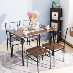 5 PCS Dining Table w/4Chairs Wood Metal Dining Sets Kitchen