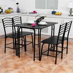 5 Pcs Modern Dining Table Set 4 Chairs Steel Frame Home Kitc