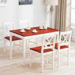 5pcs Pine Wood Dining Table Set w/4 Chairs Kitchen Dining Ro