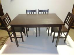 TMS 5 PIECE BAMBOO DINING SET ESPRESSO 1 TABLE 4 CHAIRS