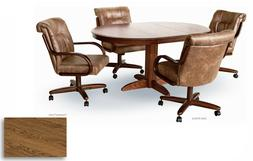5 Piece Chromcraft Caster Dining Chairs and SOLID WOOD TABLE