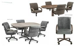 5 Piece Chromcraft Caster Dining Chairs and Table Set in Che