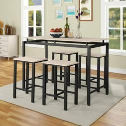 5 Piece Counter Height Dining Table Set 4 Stools Pub Breakfa