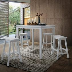 5-Piece Counter Height Kitchen Dining Table Set White Pub Se