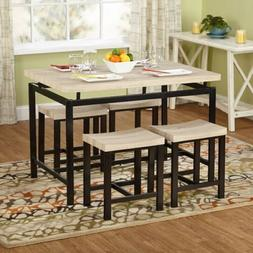 5 Piece Dining Room Table Kitchen Set Four 4 Chairs Light Wo