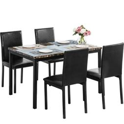 5 Piece Dining Set Faux Marble Metal Table w/4 Leather Chair