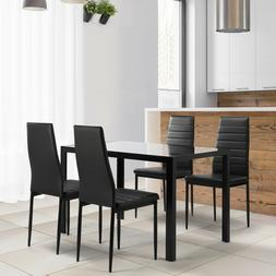 5 Piece Dining Set Glass Top Table And 4 Chair Furniture For