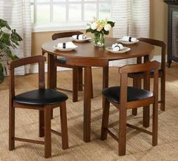 5 Piece Dining Set Mid Century Modern Formal Round Table Cha