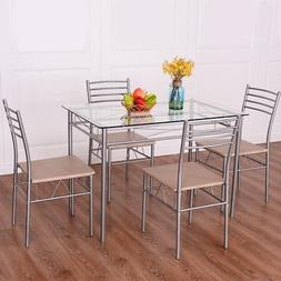 Giantex 5 Piece Dining Set Table And 4 Chairs Glass Top Kitc