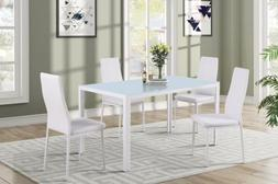 5 Piece Dining Sets Dining Table and Chairs Glass Metal Kitc