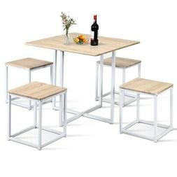 5 Piece Dining Table And Chairs Set Metal Legs Compact Space