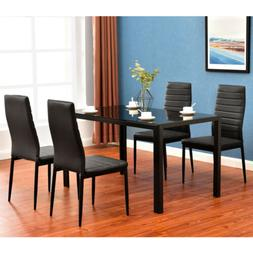 5 Piece Dining Table Set 4 Chair Elegant High Backrest Dinin