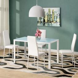 5 Piece Dining Table Set 4 Chairs Glass Metal Kitchen Room F
