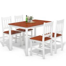 5 Piece Dining Table Set 4 Chairs Solid Wood Home Kitchen Br