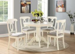 5 Piece Dining Table Set 4 Chairs Round Table Wood Kitchen B