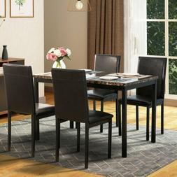 5 Piece Dining Table Set 4 PU Leather Chairs Faux Marble Tab