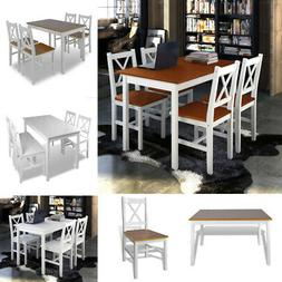 5 Piece Dining Table Set and 4 Chairs Wood Kitchen Room Brea