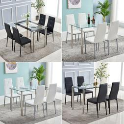 5 Piece Kitchen Dining Room Set Glass Dining Table w/ 4 PU L