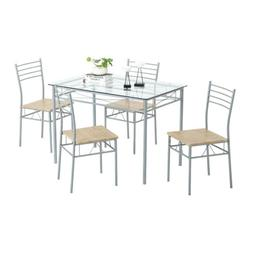 5 Piece Dining Table Set Silver Glass and 4 Chairs Kitchen F