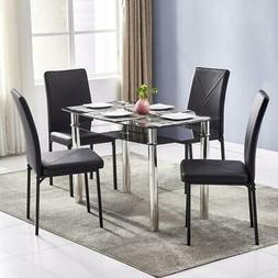 5 Piece Dining Table Set Single Glass 4 Chairs Seats Kitchen