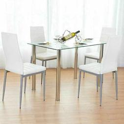 5 Piece Dining Table Set White Glass and 4 Chairs Faux Leath