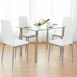55aed35add Editorial Pick 5 Piece Dining Table Set White Glass and 4 Chairs Faux Leath