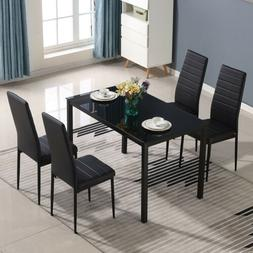 5 Piece Dining Table Sets Glass Metal 4 PU Leather Chairs Ki