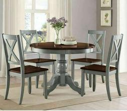 5 Piece Farmhouse Dining Table Set for 4 Rustic Round Dining