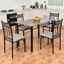 5 Piece Faux Marble Dining Set Table and 4 Chairs Kitchen Br