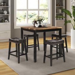 5 Piece Faux Marble Top Counter Height Dining Set in Black