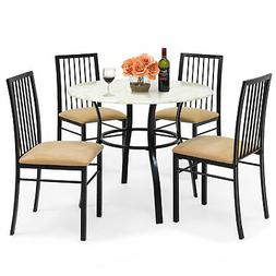 Best Choice Products 5-Piece Faux Marble Top Dining Table an