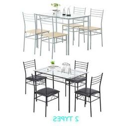 5 Piece Glass Dining Table Set 4 Chairs Kitchen Room Breakfa
