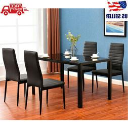 5 Piece Glass Metal Dining Table Set + 4 Chairs Kitchen Room