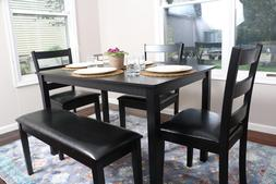 5 Piece Kitchen Dining Table Set Bench Black 150232